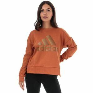 Women's adidas ID Glam Crew Neck Relaxed Fit Drop Shoulder Sweatshirt in Brown