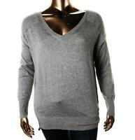 OLIVIA SKY ~ NEW $89 GRAY WOOL BLEND V- NECK SWEATER ELBOW PATCHES SZ 1X NWT