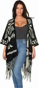 Uptown Downtown Geometric Fringe Poncho Cardian Wrap Sweater Outerwear