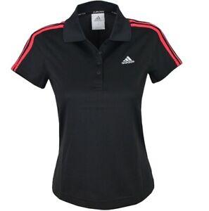 Adidas 3S Ladies Polo Shirt Functional Shirt Fitness Sport Tennis Black/Pink S M