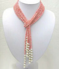 Natural Real White Pearl & 4mm Pink Coral Necklace 50 Inch PN1521