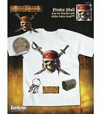 Lot of 6 - NEW Disney Pirates Of The Caribbean Iron On Transfer Skull and Swords