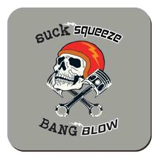 Suck Squeeze Bang Blow Skull & Piston Motorbike Drinks Table Coaster