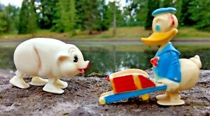 Toys Ramp Walkers Donald Duck & Pig Lot (2) Plastic Vintage WORKING Condition