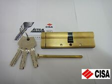 CISA ASTRAL ANTI-SNAP EURO DOUBLE CYLINDER WITH REGISTRATION CARD 45/55 - BRASS