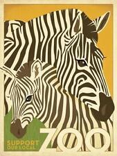 "Zebra, ""Zoo Zebra"", giclee open ed, Vintage Sign - 24x18"