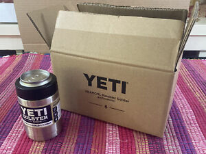 NEW Lot of 6 YETI Colster Rambler for Bottles Cans Silver Stainless Steel