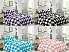 Luxury Check Duvet Covers Bedding Set 100% Egyptian Cotton Soft & Reversible Set