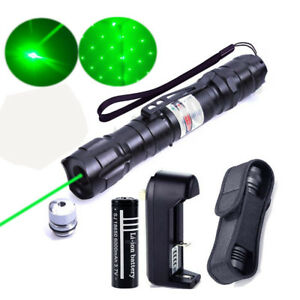 50Miles 1mw Green Laser Pointer Lazer Pen Beam Zoom Focus+18650 Battery Charger