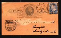 US 1890 Uprated Postal Card to Switzerland - Z15844