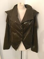 AllSaints Brown Italian Cloth Wool Mixed Media Biker Moto Rain Jacket Sz 6 EUC