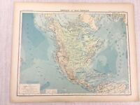 1898 French Map of North and Central America Physical 19th C Antique Original
