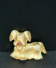 Vintage Gold Tone Dog Pin Brooch Yorkie Maltese Long Hair Puppy Jewelry