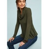 Anthropologie Womens Green Ribbed Knit Long Sleeve Cowl Neck Sweater Top Size S