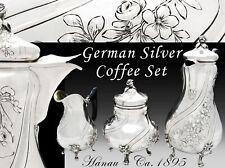 Antique German Silver 3pc Coffee Set - Hanau Silver - Repousse Flower Garlands