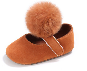 Newborn Baby Girl Pom Pom Crib Shoes Infant Toddler Soft Sole Shoes Size 0-18 M