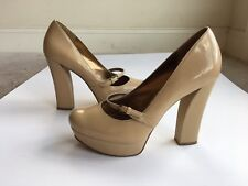 Guess Nude Size 8M Faux Patent Leather Platform Block Buckle Strap High Heels