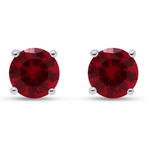4 Ct Round Cut Ruby Sterling Silver Stud Earrings In 14k White Gold Over
