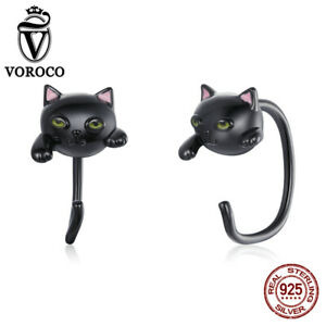 Authentic 925 Sterling Silve Cute Black cat Stud Earrings For Women Girls VOROCO