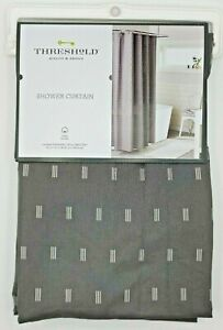 "THRESHOLD - 100% Cotton Geometric Fabric Shower Curtain - 72""x72"" - Gray"