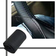 DIY PU Leather Car Auto Steering Wheel Cover With Needles and Thread Black GN