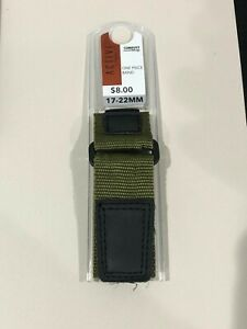 Comfort hook and loop Strap Military Green with Black Nylon/Leather Band 17-22mm