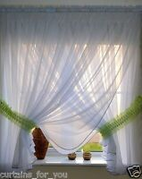 VOILE LUXURY NET CURTAIN ELEGANCE FINISHED WHITE WITH COLOURS TIE BACKS FOR YOU
