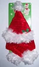 """SANTA Red Cat Hat and scarf with white fur trim Ms Claus """"Ready for Mistletoe"""""""