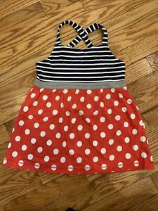 Mini Boden Red White Blue Swing Tank Top Polka Dots Stripes Girls 7 8 Hotchpotch