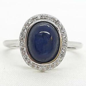 2.30ctw Kanchanaburi Sapphire & Diamond Cut White Sapphire 925 Ring Size 6.75