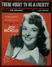 Joy Nichols There Ought To Be A Society by Mel Howard & Lee Erwin – Pub. 1947