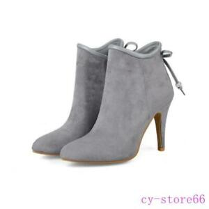 Women's Ankle Boots Rhinestones Bowtie High Heel Pointy Toe Suede Leather Shoes