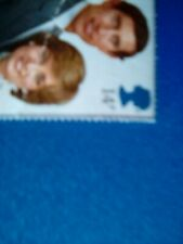 PRINCESS DIANA and CHARLES, CHRISTENING , single stamp, one wrinkle, not cut