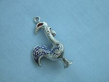 RARE PORTUGUESE LARGE SOLID STERLING SILVER RED + BLUE ENAMEL COCKEREL CHARM