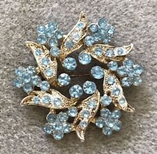 Vintage Design Silver Color Brooch with Bright Light Blue Crystals