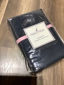 Nautica Lansing stripe King Bed Skirt dust ruffle Navy blue pink Cotton new