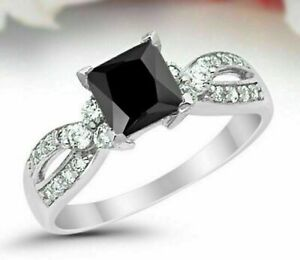 2CT Black Princess Cut Diamond Engagement Wedding Ring Solid 925 Sterling Silver