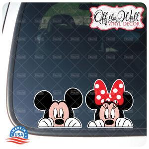 """Mickey and Minnie """"PEEKING"""" Printed Die-cut Vinyl Stickers"""