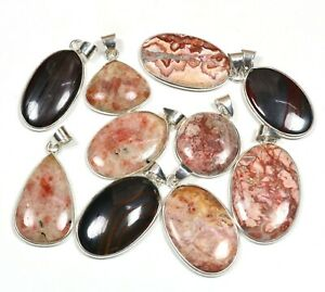 10 PCs Natural Rosarita & Sunstone Gemstone .925 Sterling Silver Bezel Pendants
