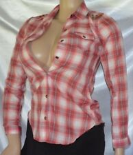 Dream Out Loud Red Plaid Studded Blouse Shirt women's size XS