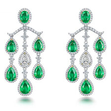 Women Jewelry 18k Two Tone Gold 100% Natural Brilliant Diamond Emerald Earrings
