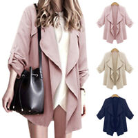 Women Ruffles Long Sleeve Waterfall Cardigan Trench Long Coat Duster Thin Jacket