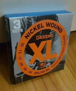 D'Addario EXL110-3D (3 Sets) Nickel Wound Electric Guitar Strings. Gauge: 10-46