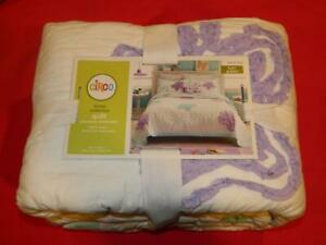 NEW CIRCO FLUTTER COLLECTION FULL/QUEEN QUILT BUTTERFLY WHITE PURPLE BLUE