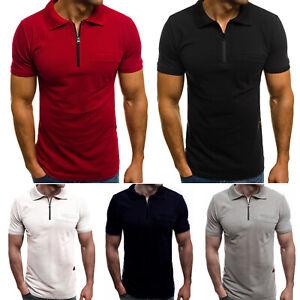 Mens Plain Tee Short Sleeve Zipper Neck Polo Shirts Casual Pullover Tops T-Shirt