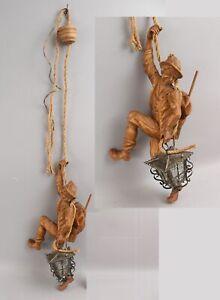 Vintage Light Hand Carved Black Forest Wood Mountain Climber Man & Lantern