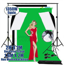 Photography Studio Video Softbox Lighting Soft Box Light Stand Kit 3 Backdrops
