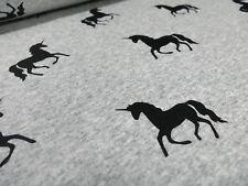 Stoffrest 55x155cm Sweatshirtstoff mit Alpenfleece Einhorn grau melange schwarz