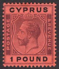 Cyprus 1924 £1 Purple & Black on red SG 102 Scott 110 VLMM/MVLH Cat £300($396)