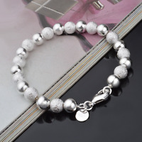 Luxury 925 Silver Plated Scrub Beads Bangle Cuff Charm Bracelet Chain Wristband